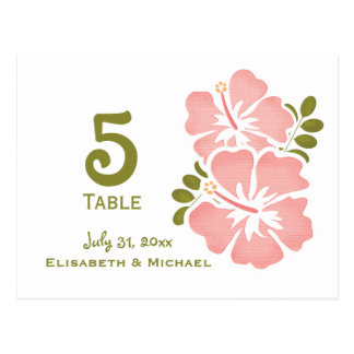 Pink Hibiscus Wedding Reception Table Number Card Postcard