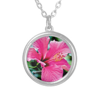 Pink Hibiskus Silver Plated Necklace