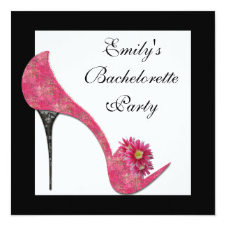 Pink High Heel Shoes Bachelorette Party Card