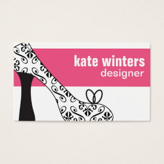 Pink High Heel Stiletto Shoe Damask Business Card