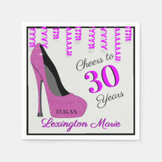 Pink High Heeled Shoe Birthday Party With Age Paper Napkin