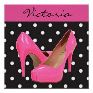 Pink High Heels Black White Polka Dots Poster