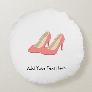 Pink High Heels - Elegant 1950s Girly Pumps Round Pillow