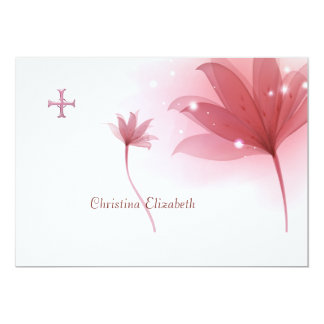 Pink High Personalized Religious Thank You Card