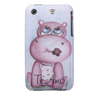 Pink Hippo Customizable iPhone 3/3GS case iPhone 3 Case-Mate Case