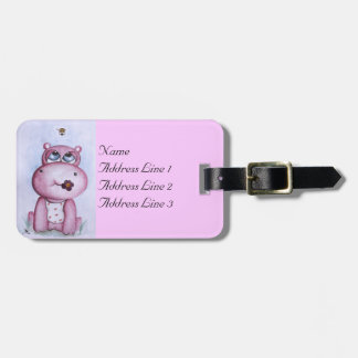 Pink Hippo Luggage Tag
