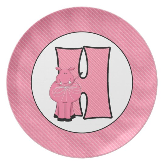 "Pink Hippo Monogrammed ""H"" Kid's Plate"