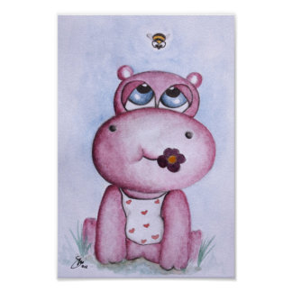 Pink Hippo Poster for children
