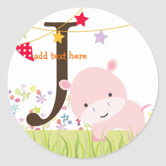 Pink Hippo stickers/add monogram Round Sticker