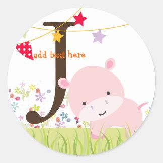 Pink Hippo stickers/add monogram Round Sticker