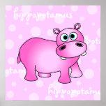 Pink Hippopotamus Poster / Print Nursery Wall Art