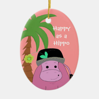 Pink Hippopotamus with a Palm Tree Ceramic Oval Ornament