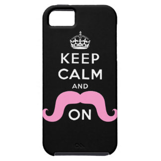 Pink Hipster Mustache Keep Calm Carry On iPhone 5 Covers