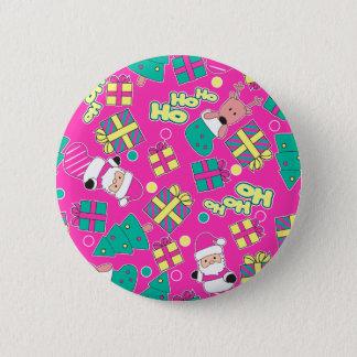 Pink - Ho Ho Santa 2 Inch Round Button
