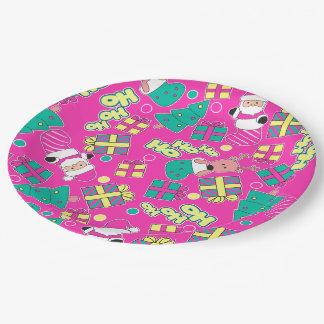 Pink - Ho Ho Santa Paper Plate