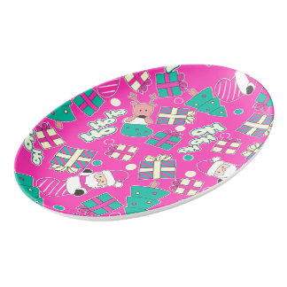 Pink - Ho Ho Santa Porcelain Serving Platter