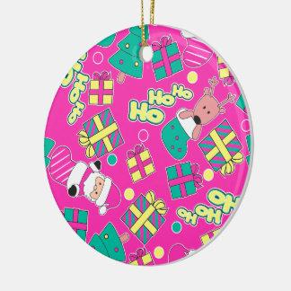 Pink - Ho Ho Santa Round Ceramic Ornament