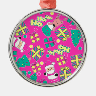 Pink - Ho Ho Santa Silver-Colored Round Ornament