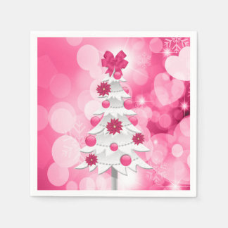 Pink Holiday Party Christmas Tree and Poinsettia Paper Napkins