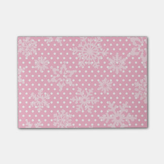 Pink Holiday Snowflakes Post-it Notes