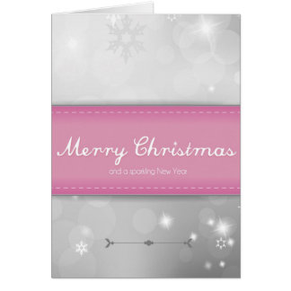 Pink Holiday Sparkle Christmas Card