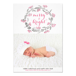 Pink Holly Wreath | Holiday Photo Card