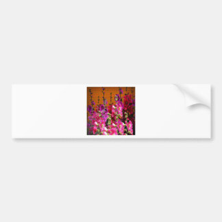 PINK HOLLYHOCK AMBER COLOR GARDEN BUMPER STICKER