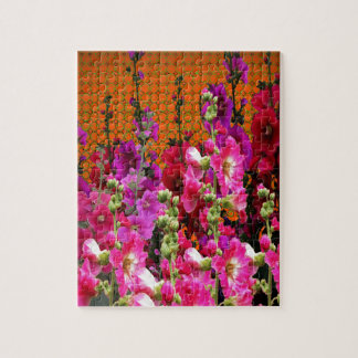 PINK HOLLYHOCK AMBER COLOR GARDEN JIGSAW PUZZLE