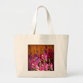 PINK HOLLYHOCK AMBER COLOR GARDEN LARGE TOTE BAG
