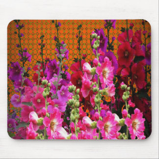 PINK HOLLYHOCK AMBER COLOR GARDEN MOUSE PAD