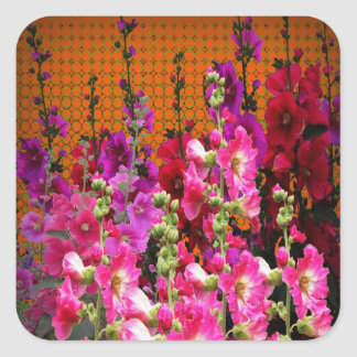 PINK HOLLYHOCK AMBER COLOR GARDEN SQUARE STICKER