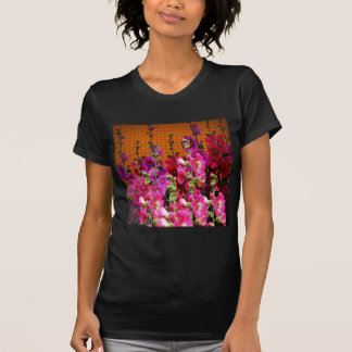 PINK HOLLYHOCK AMBER COLOR GARDEN T-Shirt