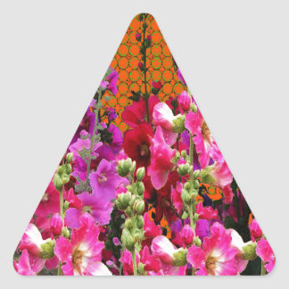PINK HOLLYHOCK AMBER COLOR GARDEN TRIANGLE STICKER