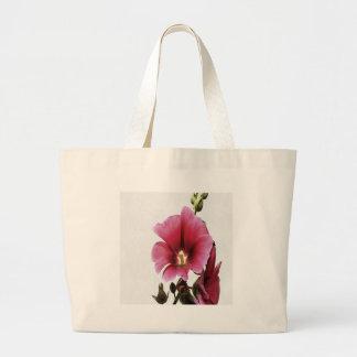 Pink Hollyhock Large Tote Bag