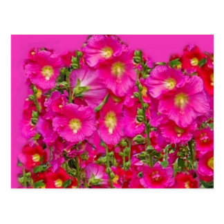 Pink Hollyhocks Garden By SHARLES Postcard