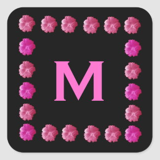 Pink Hollyhocks Monogram M or Any Letter V562 Square Sticker