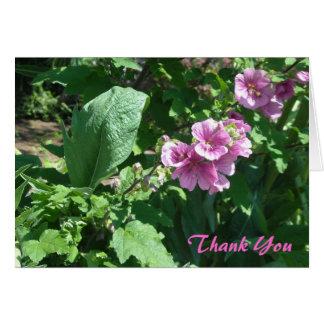Pink Hollyhocks Thank You Card