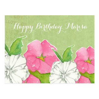 Pink Hollyhocks Watercolor Flowers Happy Birthday Postcard