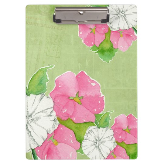 Pink Hollyhocks Watercolor Flowers Soft Green Clipboards