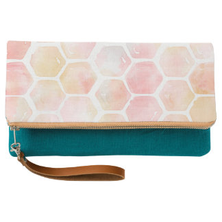 Pink Honeycomb Clutch