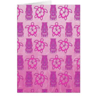 Pink Honu And Tiki Mask Card