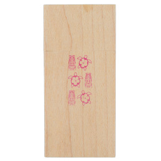 Pink Honu And Tiki Mask Wood USB Flash Drive
