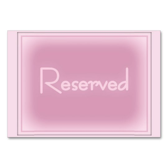 "Pink Horizontal 3.5"" x 5"" Reserved Card"