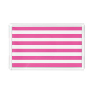Pink Horizontal Stripes Acrylic Tray