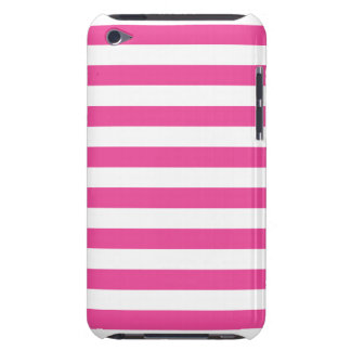 Pink Horizontal Stripes Barely There iPod Cases