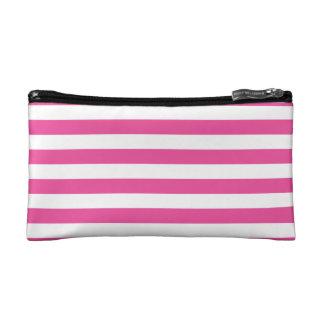 Pink Horizontal Stripes Cosmetics Bags