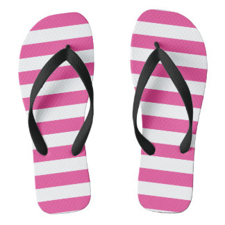 Pink Horizontal Stripes Flip Flops