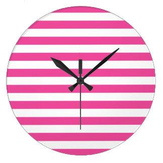 Pink Horizontal Stripes Large Clock