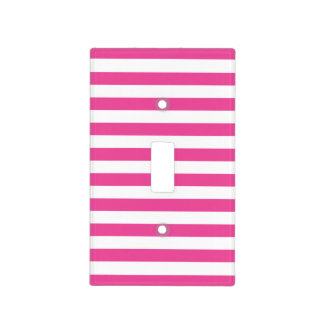 Pink Horizontal Stripes Light Switch Cover