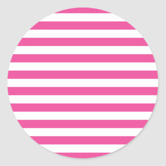 Pink Horizontal Stripes Round Sticker